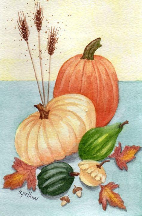 Pumpkins and Squash - WatercolorsbySandy