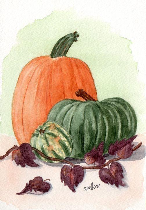 Fall Pumpkins - WatercolorsbySandy