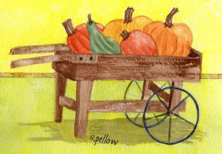 Pumpkins in Wagon - WatercolorsbySandy