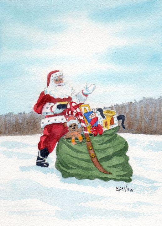 Santa and his Pack - WatercolorsbySandy