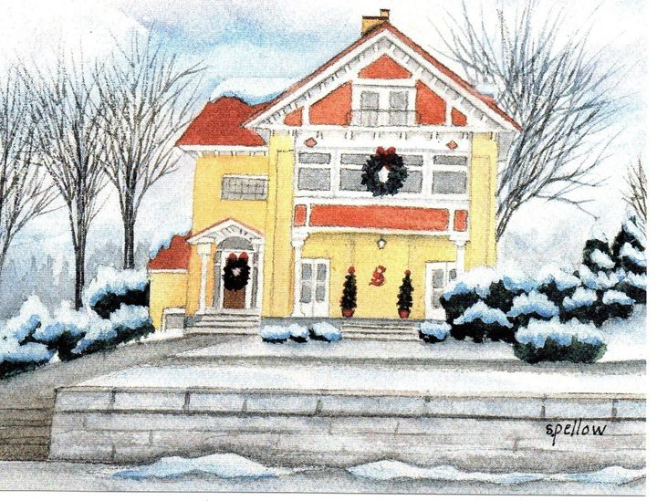 Yellow House at Christmas - WatercolorsbySandy