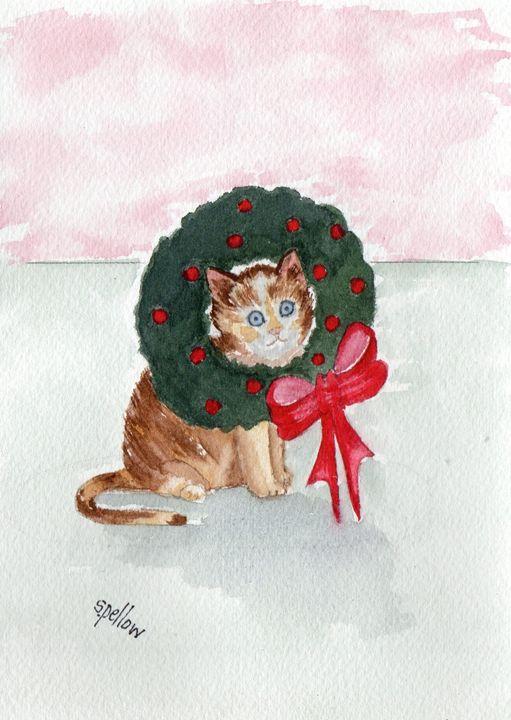 Kitty and Wreath - WatercolorsbySandy