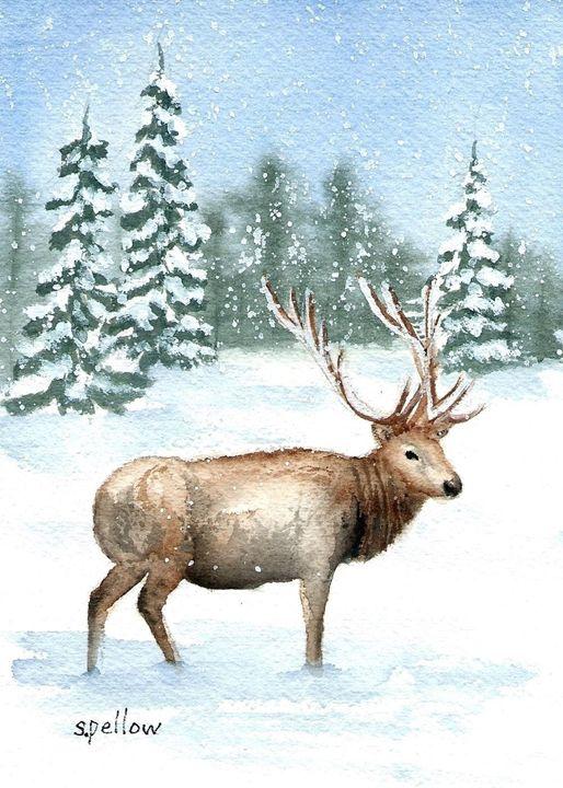 Elk in Snow - WatercolorsbySandy