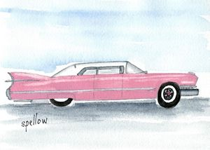 Pink Cadillac - WatercolorsbySandy