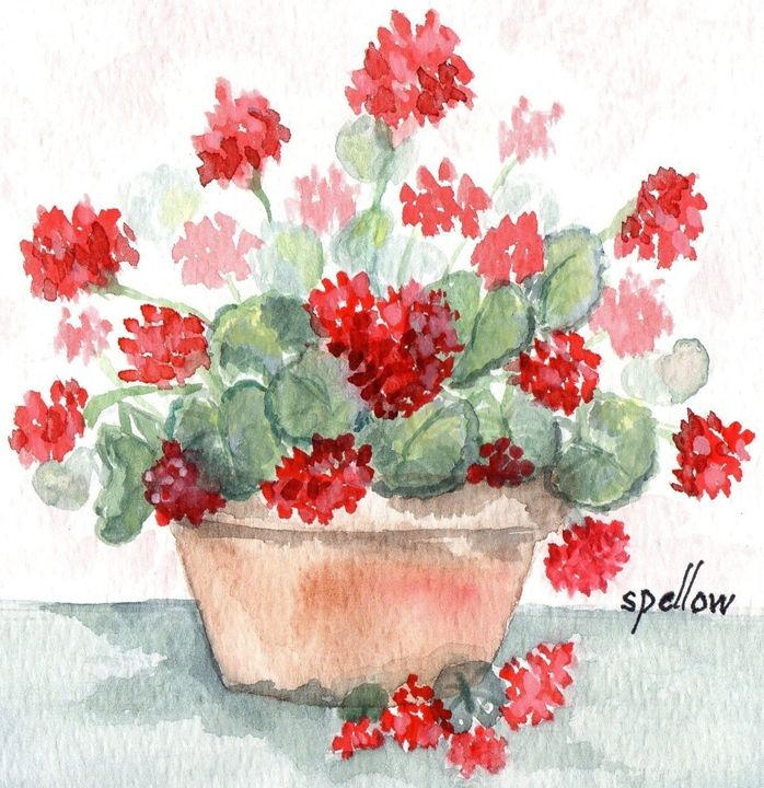 Geraniums in Terra Cotta Pot - WatercolorsbySandy
