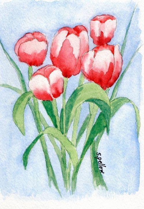 Red tulips - WatercolorsbySandy