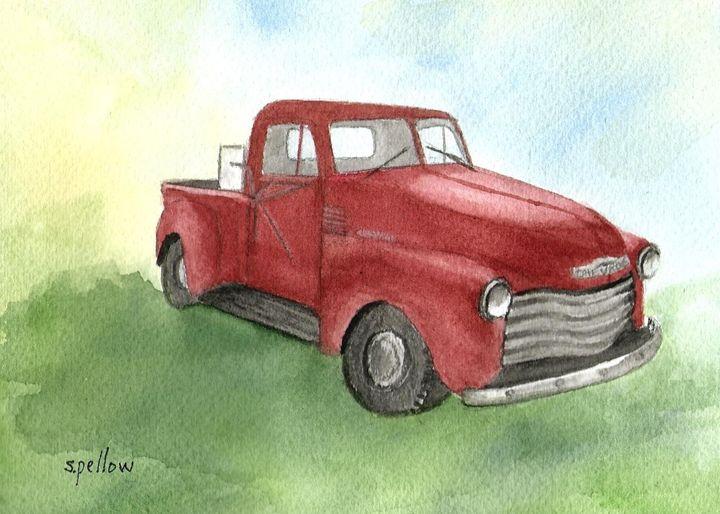52 Chevy Pickup - WatercolorsbySandy