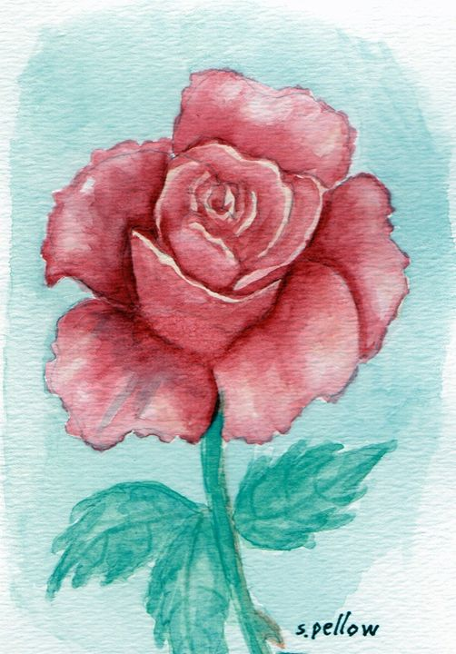 Red Rose - WatercolorsbySandy