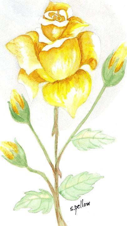 Yellow rose - WatercolorsbySandy