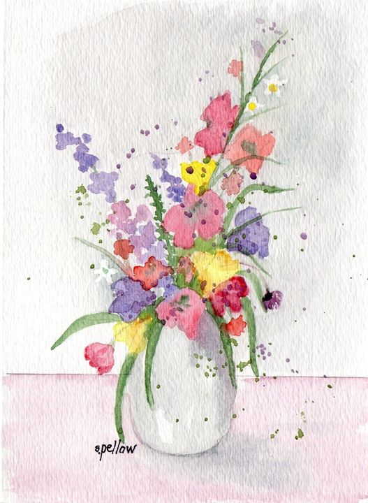 Still life with pink and purple - WatercolorsbySandy