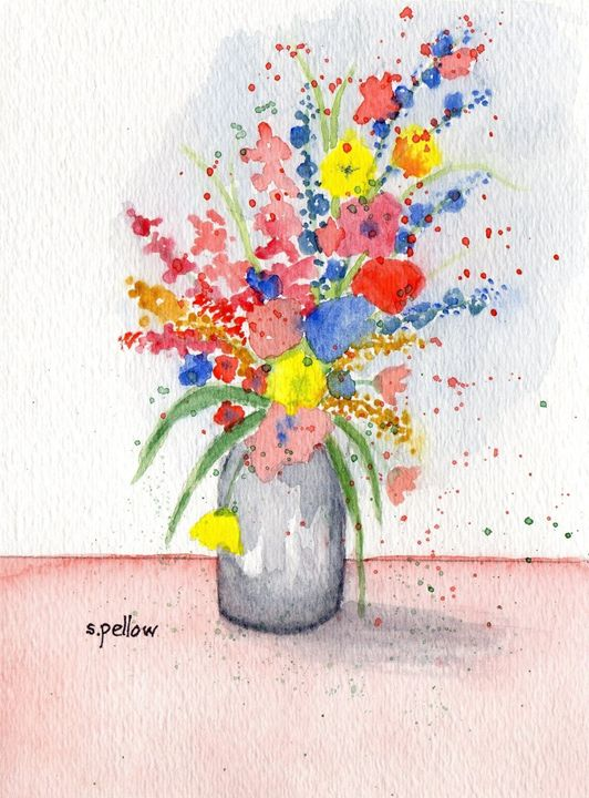 Still Life with Blue - WatercolorsbySandy