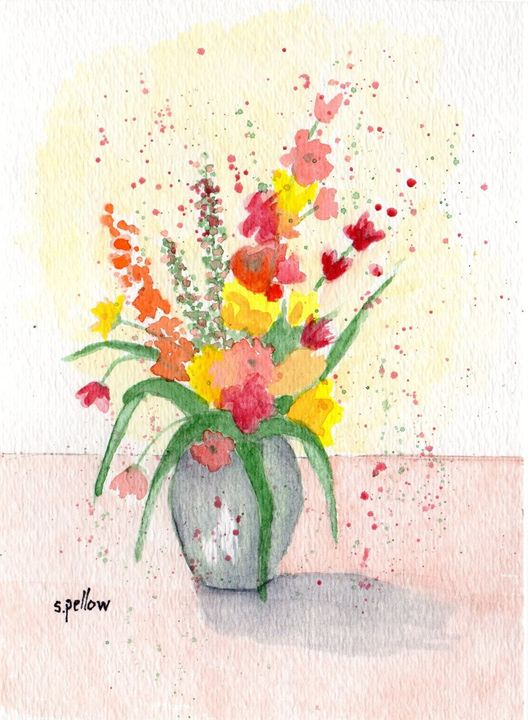 Still Life with yellows and reds - WatercolorsbySandy
