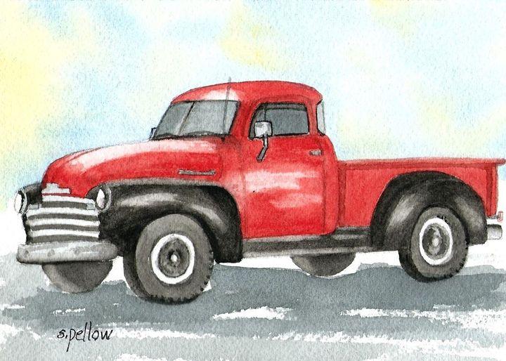 53 Chevy Pickup - WatercolorsbySandy