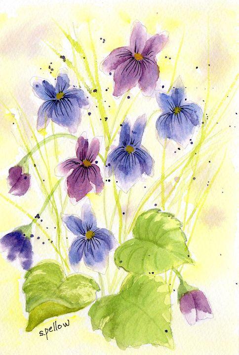 Purple and Blue Flowers - WatercolorsbySandy