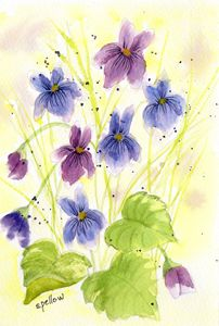 Purple and Blue Flowers - WatercolorsbySandy