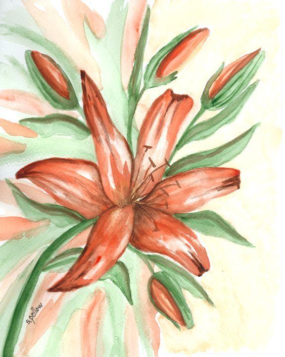 Tiger Lily - WatercolorsbySandy