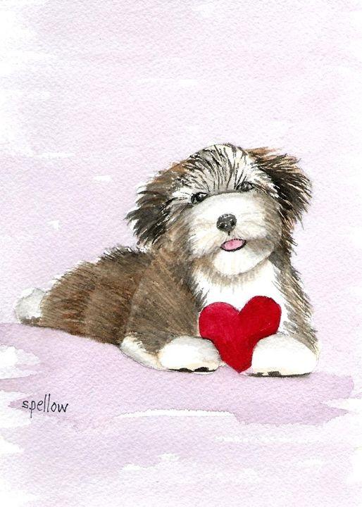 Puppy Love - WatercolorsbySandy