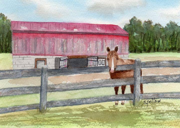 Horse and Barn - WatercolorsbySandy