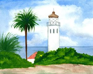 Pt. Vicente Lighthouse, CA - WatercolorsbySandy