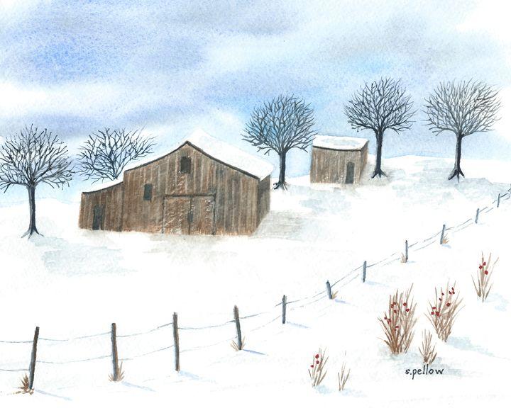 Barn in the Snow - WatercolorsbySandy