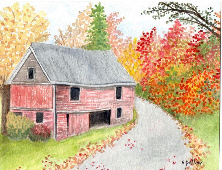 Red Barn, Stowe, Vermont - WatercolorsbySandy