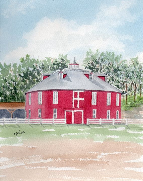 Red Round Barn, Centre Hall, PA - WatercolorsbySandy