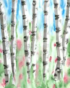 Birch Trees - WatercolorsbySandy