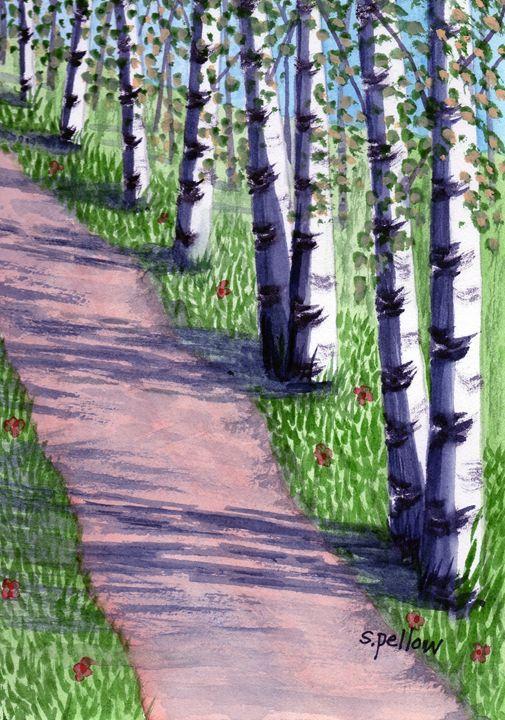 Birch Trees in the Summer - WatercolorsbySandy
