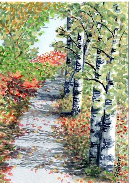 Woody path in Stowe, Vermont - WatercolorsbySandy