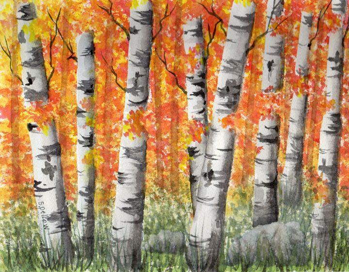 Birch Trees in Autumn - WatercolorsbySandy