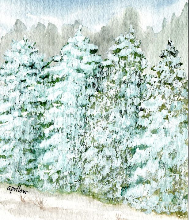 Evergreens Covered in Snow - WatercolorsbySandy