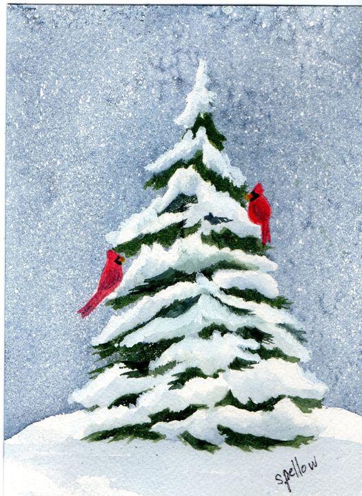 2 Cardinals on Snowy Evergreen - WatercolorsbySandy