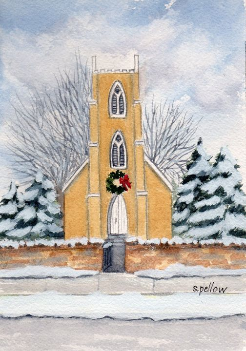 Church in Winter - WatercolorsbySandy
