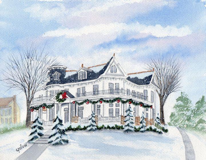 B & B in the Winter - WatercolorsbySandy