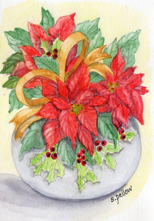 Poinsettia in Round White Vase - WatercolorsbySandy