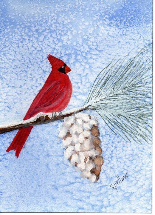 Cardinal and Pinecone in Snow - WatercolorsbySandy