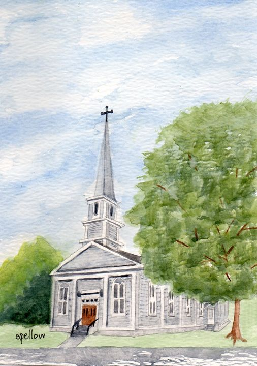 Church in Waterbury, VT - WatercolorsbySandy