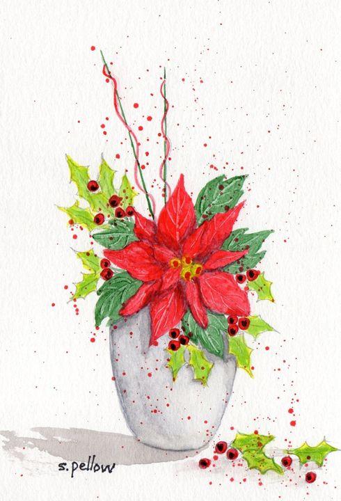 Poinsettia in white vase - WatercolorsbySandy