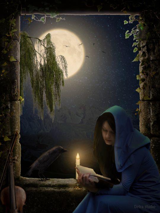 Reading in the moonlight - Dejan Travica