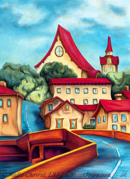 Red roofs village - Nadia Chevrel