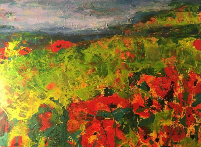 "New!! ""Poppy Sea"" painting canvas - Judy Bird"
