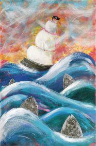 Sailing Ship and Fish Vivid Seascape