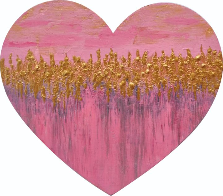 Gold Pink Heart Abstraction BFF - Stasy Votinova