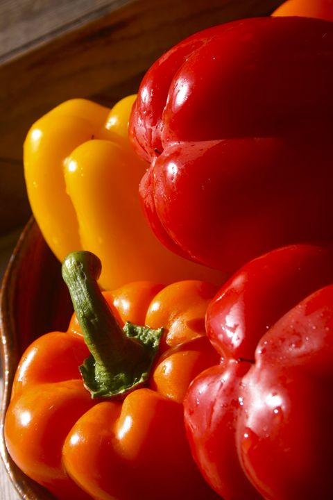 Warm, red  bell peppers - Sue Rode Photography