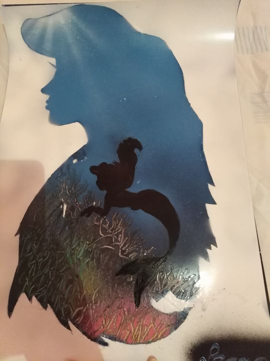 Little mermaid disney - spray painting