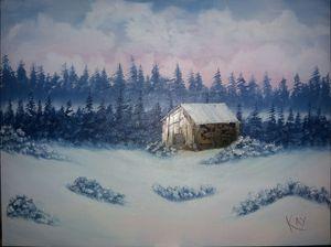 Old Cabin Winter Scene