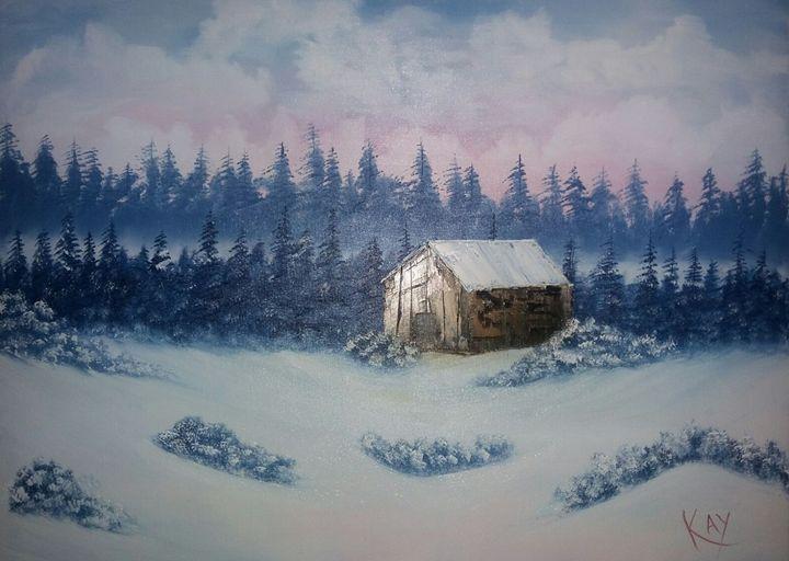 Wooden cabin in winter - Kay Em
