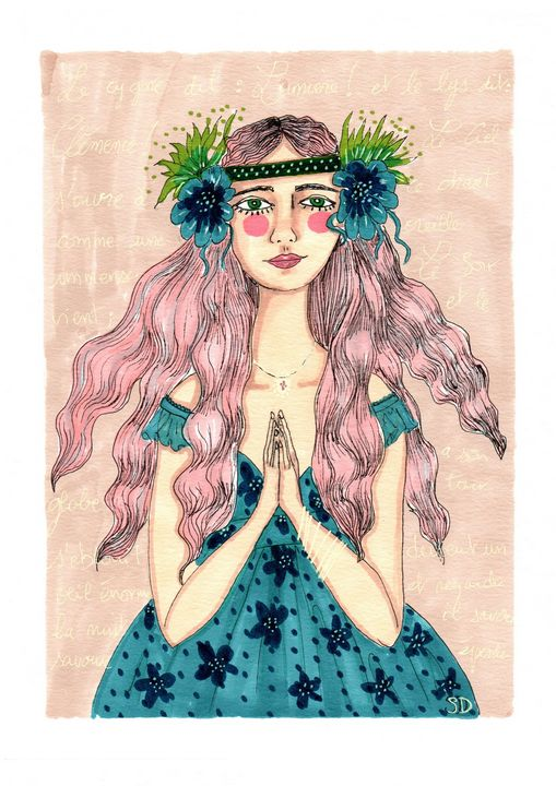 boho girl in blue and pink - Mademoiselle Samantha