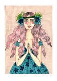 boho girl in blue and pink