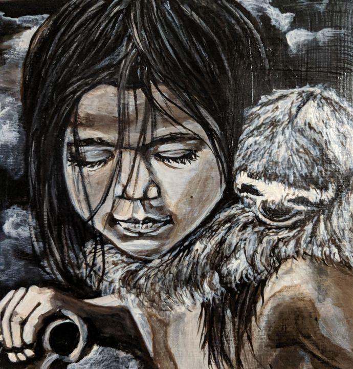 Girl and her sloth - Carolyne J Wilkie